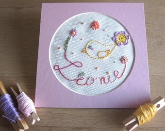 """""""First name"""" or """"word"""" customizable and framed embroidery (model Léonie)"""