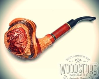"Handcrafted tobacco pipe - ""Lion"" wooden smoking pipe, wood pipe"