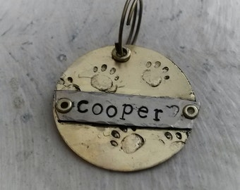 Paw Print pet tag - Whimsical dog tag -  Gift for Pet Lovers - Pet Accessories - Stocking Stuffer