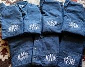 Set of Your Choice Personalized Denim Bride and Bridesmaids Shirts- Oversized Monogram Denim Shirt- Gift- Denim Long Sleeve- Wedding Gift