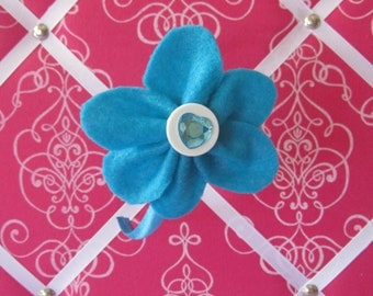 Turquoise and White Felt Flower Headband