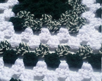 Granny Square/ Green! hand made crochet baby/toddler blanket/afghan/granny square