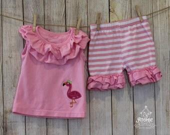 Girls Ruffled Shorts Set with Flamingo size 5 - Girls Summer Clothes - Boutique Girls - Ruffle Shorts - Girl Clothing - READY TO SHIP