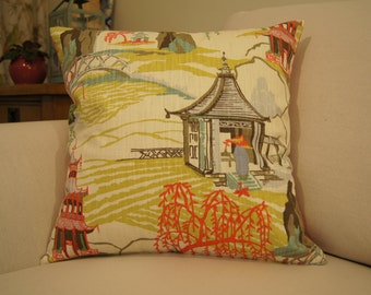 Modern Toile Cushion Cover - Red Multi