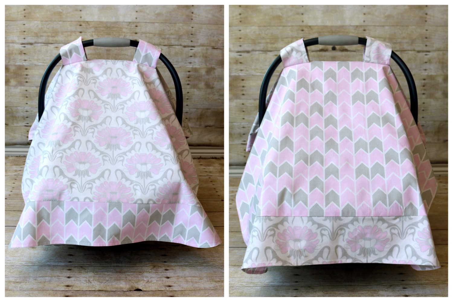 Reversible Car Seat Cover Canopy Pink Gray And White Floral