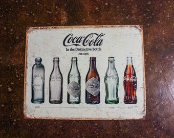 Framed Coca Cola Bottle Evolution Tin Sign