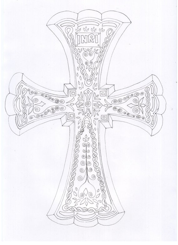 Cross adult coloring sheet coloring page color in colour for Adult coloring pages cross