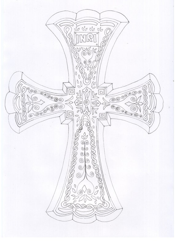 Cross Adult Coloring Sheet Coloring Page Color In Colour