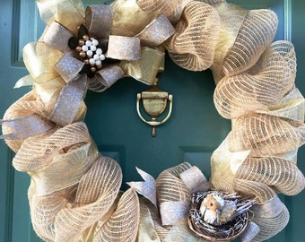 Burlap Mesh and Ribbon Wreath