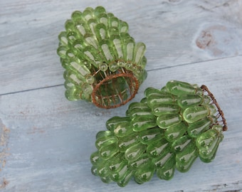 Rare Venetian Green Murano Grape Clusters/Green glass grape cluster lampshades/ Vintage Grape Cluster Pendants/