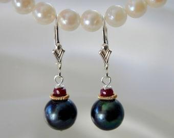 Black pearls Ruby Earrings-Freshwater Pearl with Ruby Earrings