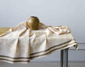 Jacquard Tablecloth - Linen Cotton Blend