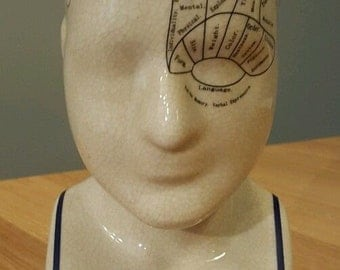 "Phrenology Head - 9"" Ceramic - L N FOWLER Brand New"