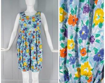 Vintage 1980s / 1990s Floral Cotton Romper / Jumpsuit   Size XS, S