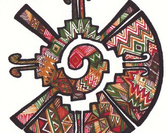 """Hand-drawn zentangle Mayan symbol in Quechua for """"family"""""""