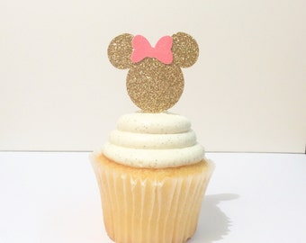 Minnie Mouse cupcake toppers gold and pink Minnie toppers-smash cake-photo prop-party supplies- 12 cupcake toppers-Minnie