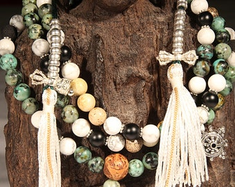 Dalai Mala African Turquoise & Howlite Mala Necklace, this Mala's Guru Bead was blessed by the Dalai Lama in 2011