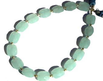 """8"""" Long 17 Pcs 8x10 mm Aqua Chalcedony Faceted Rectangle Briolettes, Loose Gemstone Briolette Beads A38"""