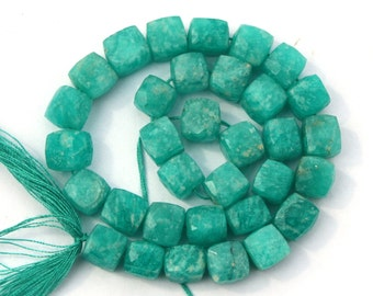 17 pcs 7-8 mm Natural Amezonite Gemstone Faceted 3D Cubes, Semiprecious Gemstone Beads