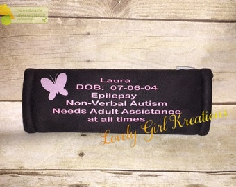 Seat Belt Cover, Autism Seat Belt Cover, Medical Alert, Medical ID Seat Belt Cover, Special Needs Seat Belt Cover, SeatBelt Cover