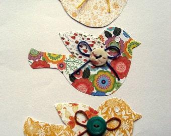 Handmade Paper Birds Bohemian 3pk