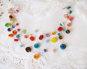 1st Anniversary Gift For Her, One Year Anniversary gift for her,  Paper Necklace, Paper Bead Necklace,  Paper Jewelry, Multicolor Necklace