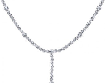 2.75 Carat Round Cut Diamond Tennis Style Y Necklace 14K White Gold