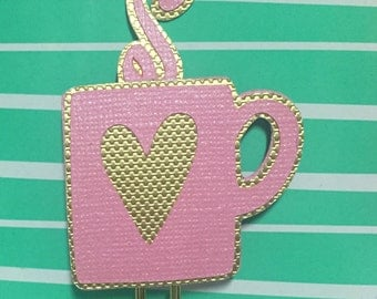 Heart Coffee Cup / planner clip / planner supplies / planner accessories / pink / gold / personal planner / A5 planner
