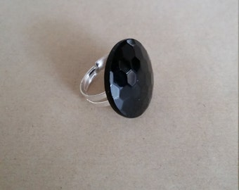 Vintage Button Ring - repurposed vintage button, black glass faceted vintage button ring with adjustable band, 2cm
