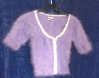 Lavender, Short-Sleeved Angora Sweater with White Trim