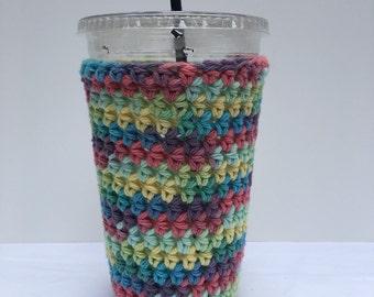 Crochet Iced Coffee Cozy/ iced coffee cozy/ Crochet coffee cozy/ Cotton cup sleeve/ Summer drink cozy/Iced coffee sleeve/Coffee Lover Gifts