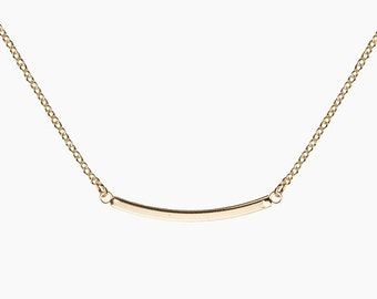 DELICATE Curved Gold Solid Bar NECKLACE