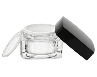 10 Clear Acrylic Square Jars with Black Lids | Cosmetic Jars SET of 10  | 1oz (30ml)