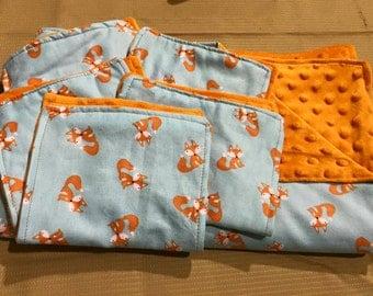 Minky Blankets and Burp Cloths- Fox