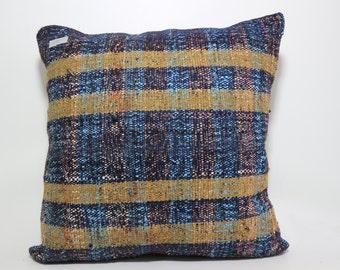 sofa pillow Striped kilim pillow 24x24 multicolour pillow turkish kilim pillow cushion case boho pillow natural pillow large size SP6060-572