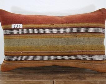 """Kilim Pillow Cover 12""""x20"""" - 30x50 cm Lumbar Pillow lumbar kilim pillow  stripe pillow kilim cushion cover"""