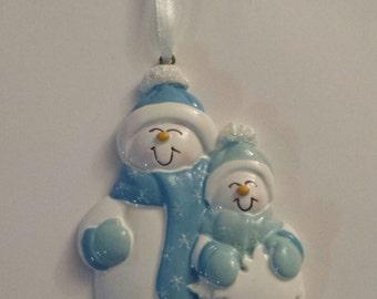 SNOWMAN COUPLE in BLUE - NFS12-B