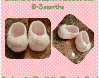 Pink and White Baby Booties with Bow