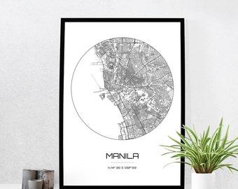 Manila Map Print - City Map Art of Manila Philippines Poster - Coordinates Wall Art Gift - Travel Map - Office Home Decor