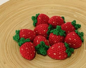 Crochet strawberry, play food, cotton crochet food, crochet strawberry. Play kitchen accessories