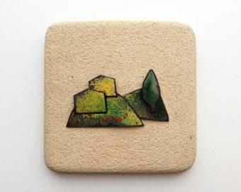 Italian vintage tile by Centro Ave Loppiano | ceramic tile sand color | Italian landscape