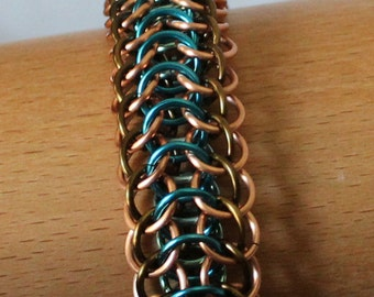 Reversible 4 in 1 Weave Edged with Half Persian Chain Mail Bracelet, Enameled Copper Wire Chain Mail Bracelet, Blues, Copper, Browns