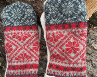 Felted Wool Mittens made from Repurposed Sweaters Red Gray Winter White Fair Isle