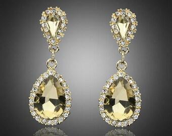 Bridal Emerald Crystal Dangle Earrings