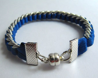 Woman, braided Ribbon and metal bracelet royal blue, magnetic clasp