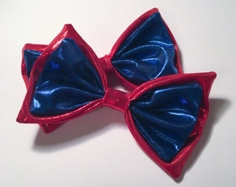 Metallic Red and Blue Hair Bows