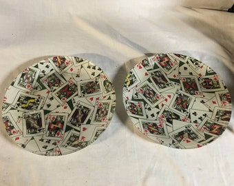 "Pair of vintage 10"" Playing card plates"