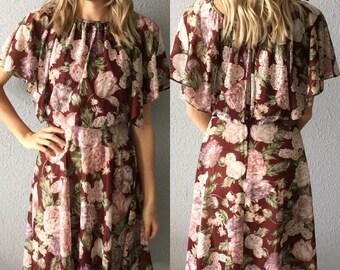 1970's Bohemian Floral Sheer Midi Dress