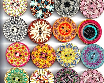 Wooden Round KALEIDOSCOPE BUTTONS  - Multi-Patterned Designs on Wood Buttons  - 2 Hole Flat (no shank) - Sew Through - Painted