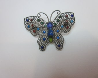 Vintage Silver Figural Butterfly Brooch Pin